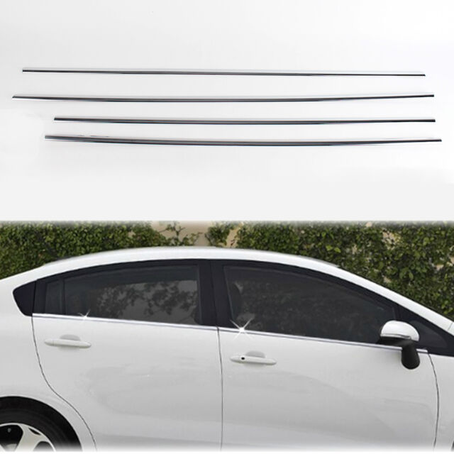 Chrome Door Window Sill Belt Line  Molding Trim Cover for 12+ Rio 4DR