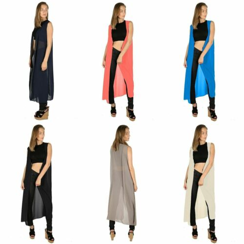 Womens Summer Maxi Cardigan Boyfriend Sleeveless Top Fashion Front Open Outwear