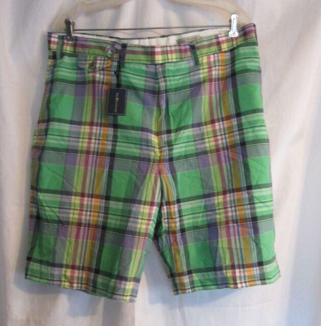 Ralph Lauren Men's India Madras Green/Blue Plaid Shorts Size 36  NWT