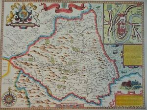 OLD COPY OF JOHN SPEED 1610 MAP THE BISHOPRICK AND CITY OF DURHAM