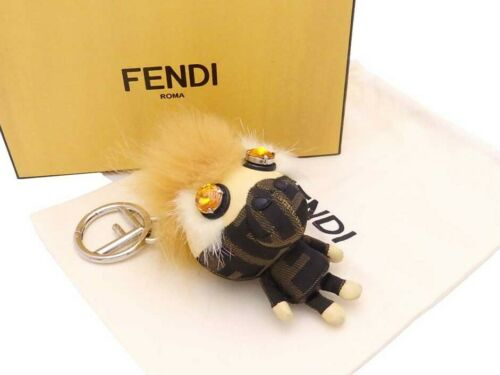 FENDI Zucca Space Monkey Bag Charm Brown/Beige Can