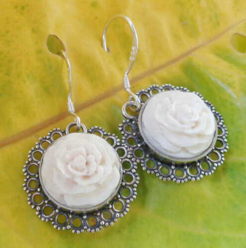 925 Balinese Bovine Bone Hand Carved Earrings 39197 Flower Design Solid Silver