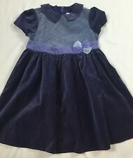 Pretty American Girl Bitty Baby Doll Girls Blue Holiday Dress Size 6 6x Velvet