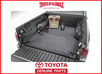 Topline Autopart Black Rubber Horizontal Line Truck Bed Floor Mat Liner v2 For 05-20 Toyota Tacoma 5 Feet Short Bed 60