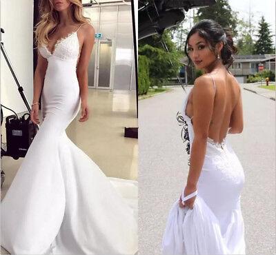 Sexy Lace Satin Mermaid Wedding Dress White/Ivory Spaghetti Straps Bridal Gown