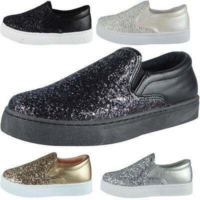 WOMENS LADIES PULL ON LOAFERS GLITTER FLATS FITNESS GYM TRAINERS WALK SHOES SIZE