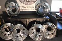 6 - Alcoa Aluminum Dually 8.25 X 22.5 Semi Wheels Milled To 22 Inch