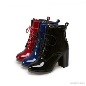 womens-patent-leather-lace-up-chunky-heel-round-toe-ankle-boots-new-sizes-4-5-9