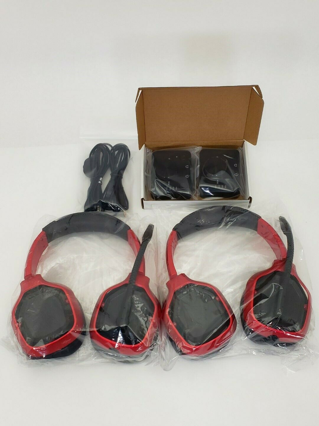(Lot of 2) - Amazon Basics Pro Gaming Headset - W/ Aux Cable & Controller - Red