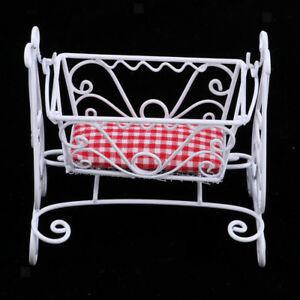 European-Style-1-12-Dollhouse-Miniature-Bed-Room-Metal-Cradle-Rocking-Bed