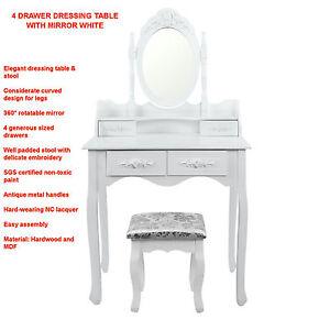 4-Drawer-Dressing-Table-w-Mirror-White