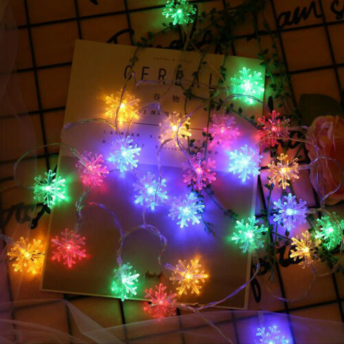 10//20//40 Snowflake LED String Fairy Light Battery Operated Christmas Party Decor