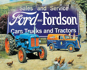 FORD-ET-FORDSON-VOITURES-TRUCKS-annonce-vintage-email-metal-boite-ENSEIGNE