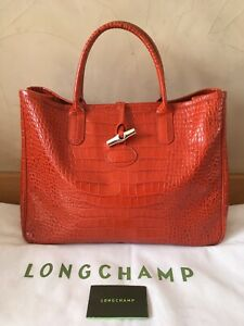 Sac-Cabas-LONGCHAMP-Roseau-Croco-Orange-38x28cm-Etat-Neuf-Original-Dustbag