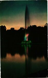 Vintage Postcard - Night View Water Fountain Central Park New York NY #4910