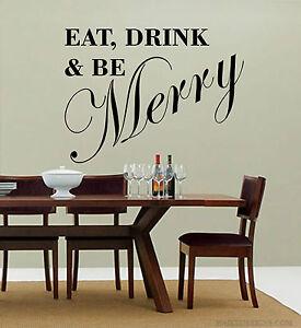 Detalles de Comer Beber y Ser Merry Adhesivo Mural Vinilos de Pared Cocina  Salón Comedor