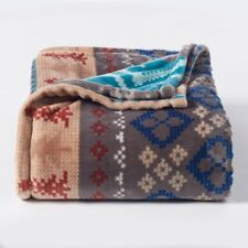 Item 1 Teal Fair Isle Plush Oversized Super Soft Throw Blanket The One 60x72 New