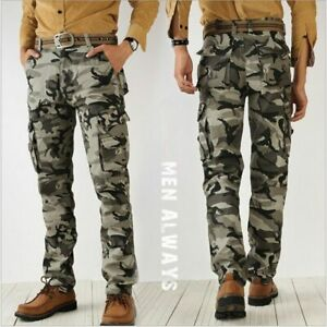Pantalones De Hombre Estilo Camuflaje Casuales Pantalon Tipo Cargo Militares Ebay