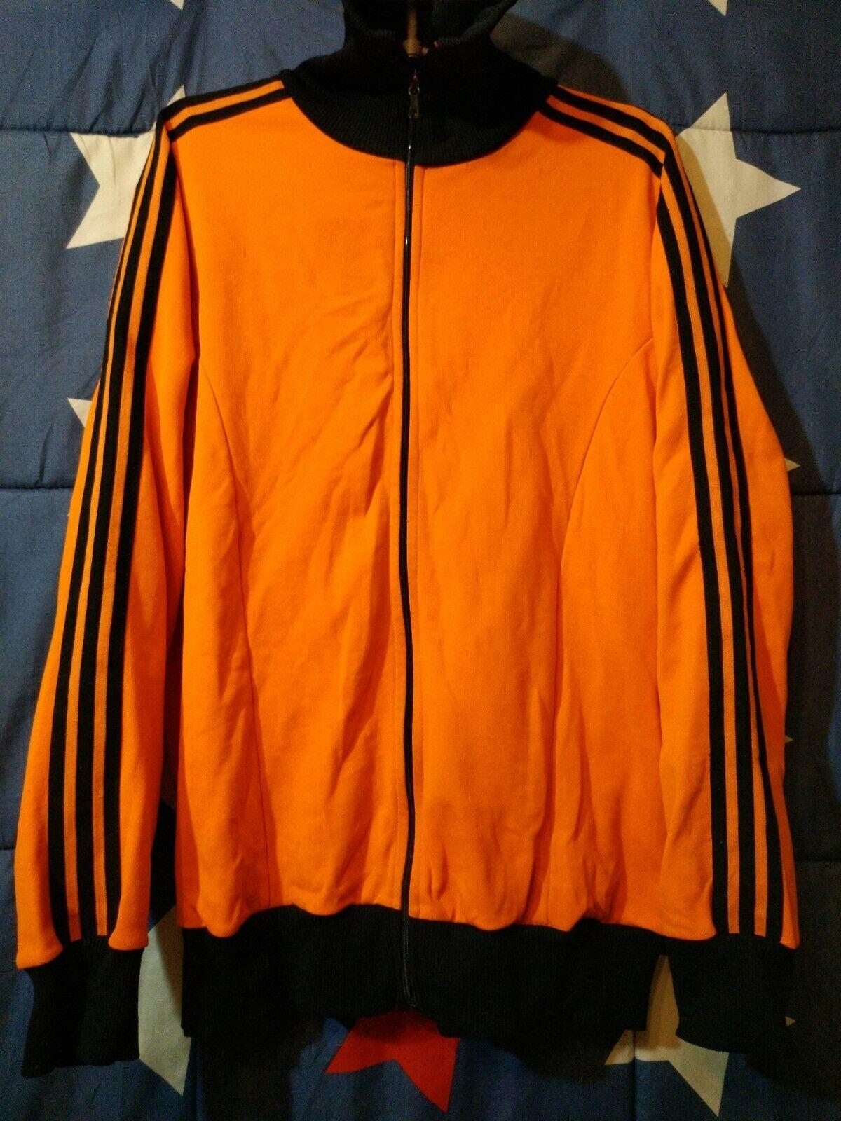 VINTAGE ADIDAS 1970s-1980s Orange TRAINING FOOTBALL JACKET (NETHERLANDS HOLLAND)