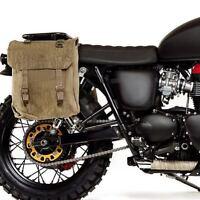 WWII ERA NEW KHAKI LARGE MOTORCYCLE PANNIERS HEAVY DUTY CANVAS WEBBING [72475]