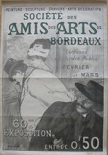 Plakat affiche Amis des Arts Bordeaux Jean Lefort Lithografie entoilé 1900