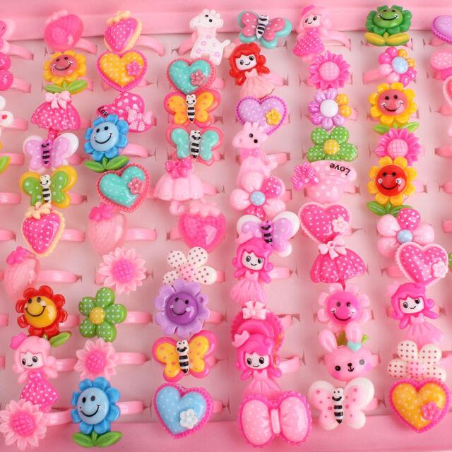 Wholesale 30pcs Assorted Flower Animal Heart Cartoon Girl Baby Children Rings
