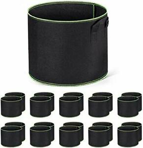 10-Pack-5-Gallon-Sacs-Culture-Etoffe-TisseePlantation-Pots-d-039-aeration