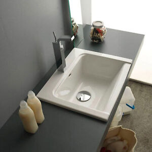 Dettagli su Lavabo bagno ceramica da incasso 61x51 cm bianco nuovo design  lavandino capiente