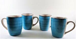New-4-Royal-Norfolk-Turquoise-Blue-Swirl-Stoneware-12-oz-Coffee-Mugs-Cups