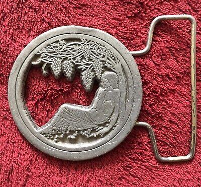 Vintage '70's Belt Buckle Man & Grapes Beardsley Artwork Indiana Metal Craft Co.