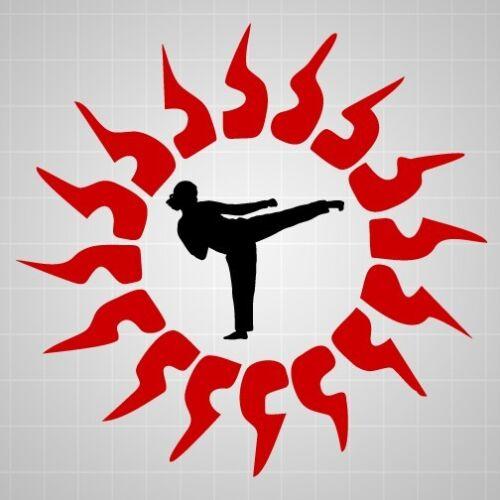 Taekwondo girl fighter wall decal,Taekwondo Martial Arts Tribal Sun wall sticker
