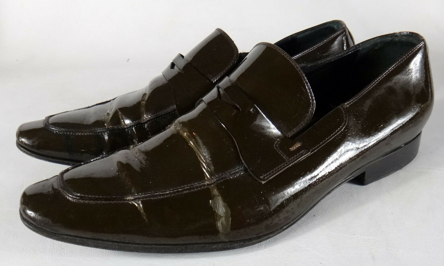 Christian DIOR marrone 45 Pelle patent penny loafers pointy 11 tuxedo shoe vtg