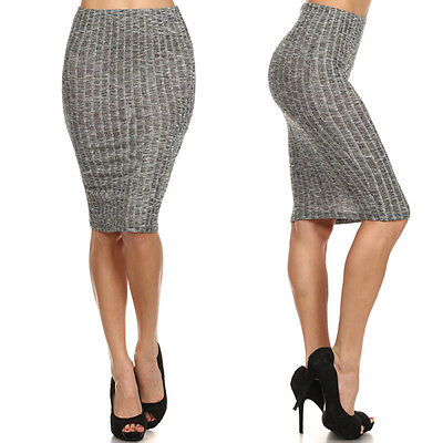 Sexy Peppered Ribbed Knit High Waist Stretchy Knee Length Career Bodycon Skirt