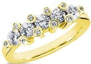 1-39-ct-Round-DIAMOND-Wedding-14K-Yellow-Gold-Ring-Anniversary-Band-SI1-clarity