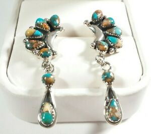 925-STERLING-CLUSTER-amp-DANGLE-SPINY-OYSTER-amp-TURQUOISE-1-11-16-034-POST-EARRINGS