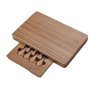 5pc Stainless Steel Cheese Knife Set With Slide Out Bamboo