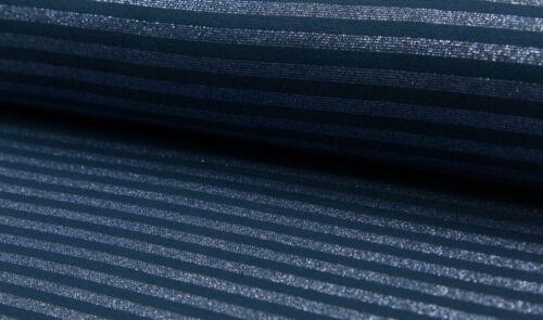 Bündchen dunkelblau blau metallic Streifen Bündchenstoff Glitzer Schlauchbund