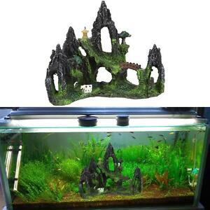 Mountain view aquarium rock cave stone tree bridge fish for Aquarium bridge decoration