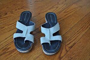 Womens-DONALD-J-PLINER-Light-Gray-Leather-Sandals-Shoes-Size-7-5-M