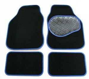 Black-650g-Carpet-amp-Blue-Trim-Car-Floor-Mats-with-Rubber-Heel-Pad-for-Fiat-500X