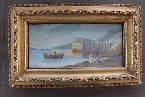 19C-Gouache-Italian-Coastal-Scene-signed-Gian-Gianni