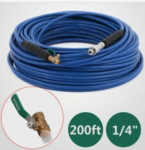 200ft-Carpet-Cleaning-Hose-1-4-034-Wand-Cuff-Connect-Truckmount-275-Degree-Newest