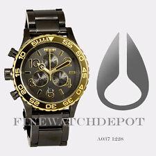 Authentic Nixon Men's Stainless Steel 42-20 Chrono Gun N Gold Watch A0371228
