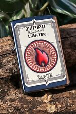 Zippo Lighter - Vintage Trading Business Card - Since 1932 - Red Flame - Brushed