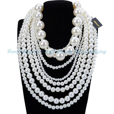 Fashion Jewelry White Pearl Choker Strand Statement Bib Pendant Party Necklace