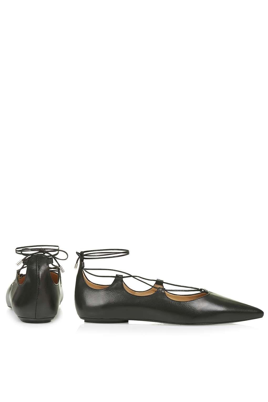 Topshop Leder flach Gladiator spitz Schuhe Ballerinas Größe UK 5 6 8