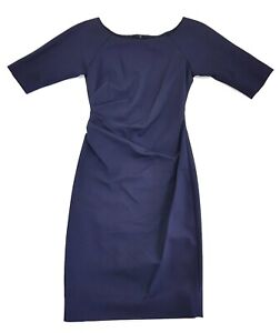 Lela-Rose-Navy-Blue-Draped-Silk-Sheath-Dress-Size-2-Womens