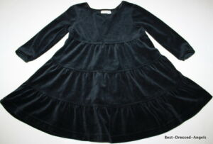ff815992c9 HANNA ANDERSSON Love to Twirl Velour Black Dress Girl Size 80 18-24 ...