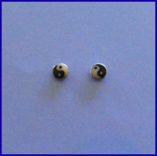 Paar Sterling Silber 925 Ying Yang Ohrstecker Neu 3 mm