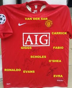 buy popular 27f72 bdc40 Details about MANCHESTER UNITED 2008 UCL SIGNED AUTOGRAPH SHIRT 7 JERSEY  RONALDO+GIGGS+SCHOLES